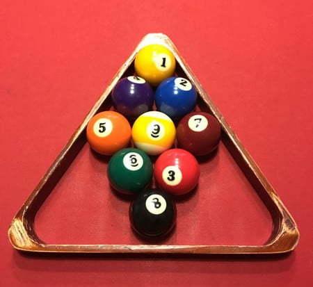 9 ball rack with a triangle rack