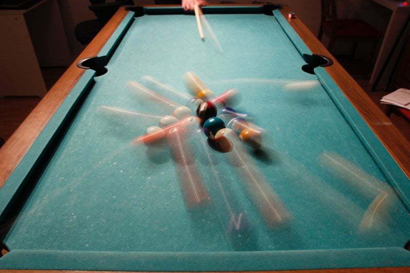 Breaking a billiards rack