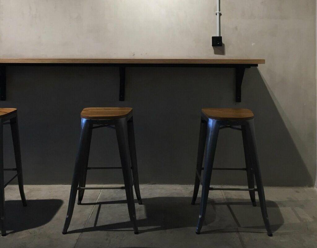 wooden vintage bar stools