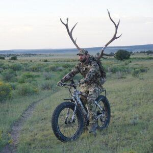 riding electric hunting bike with deer antlers