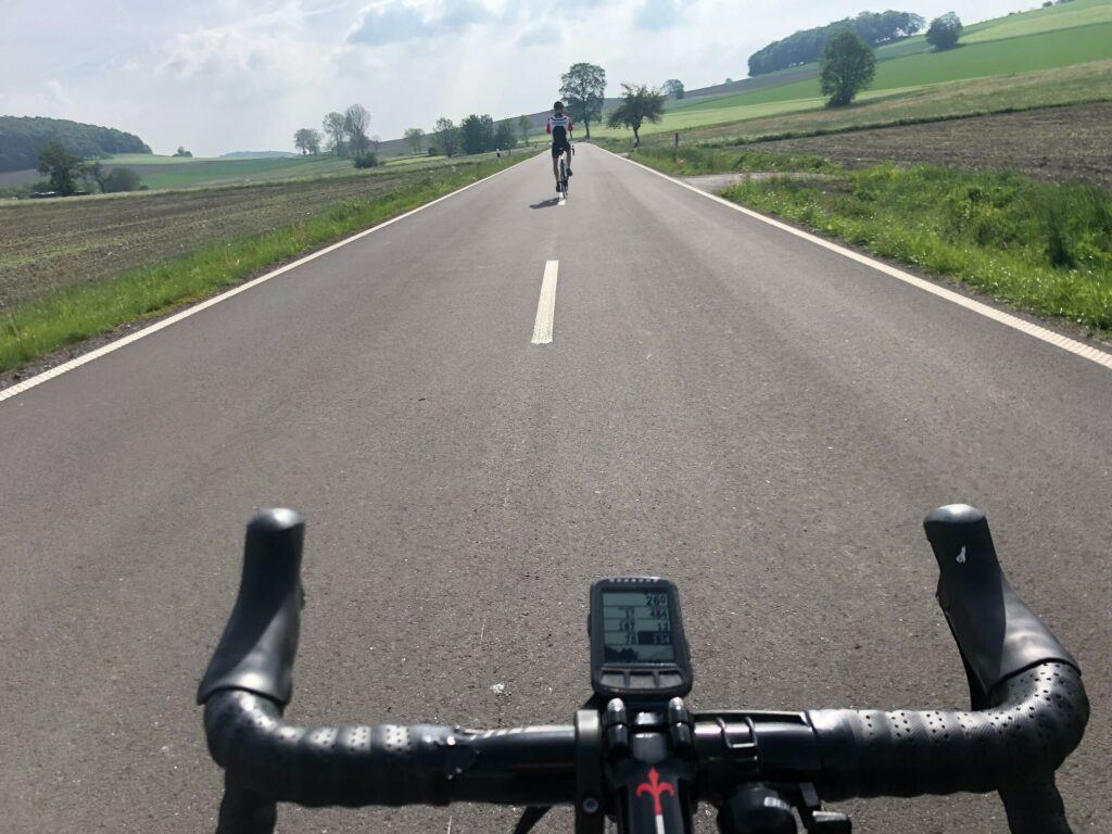 road bike with cycling computer